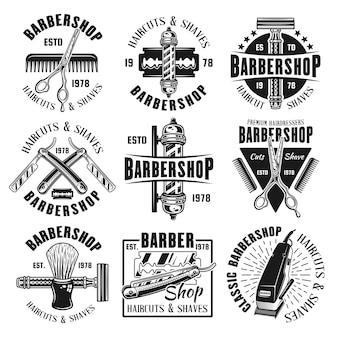 Set da barbiere di emblemi neri