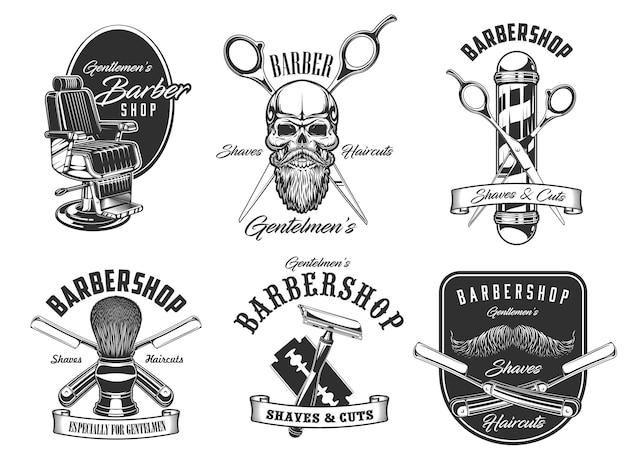 Barbershop si rade e progettazione dell'illustrazione delle icone del salone di taglio di capelli