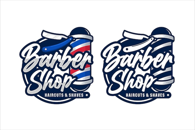 Barbershop logo design vettoriale premium