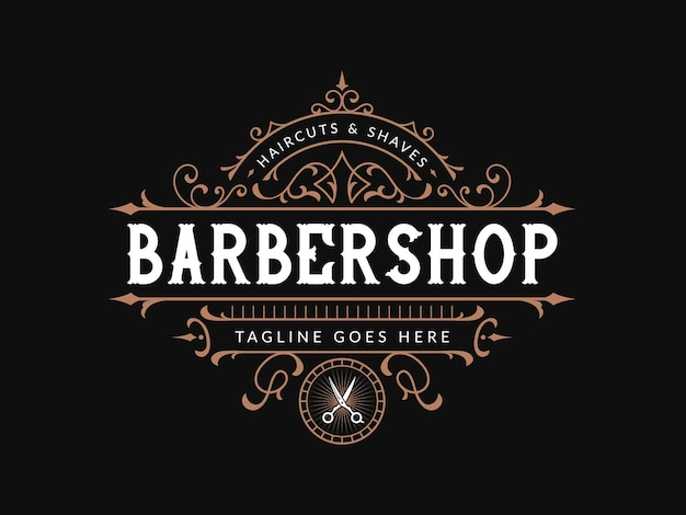 Barbershop logo lettering vintage con cornice ornamentale