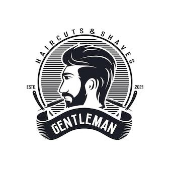 Modello di logo vintage da barbiere