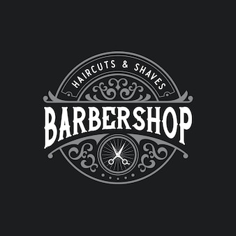 Barbershop logo distintivo retrò vintage con cornice ornamentale