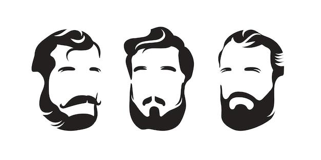 Barbieshop. acconciatura da uomo con barba e baffi. sagoma della testa di un uomo. logo in bianco e nero.