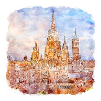 Illustrazione disegnata a mano di schizzo dell'acquerello della cattedrale di barcellona