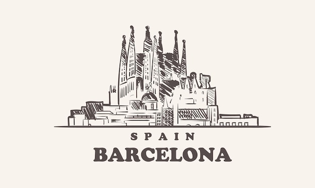 Illustrazione disegnata a mano della spagna di schizzo di paesaggio urbano di barcellona