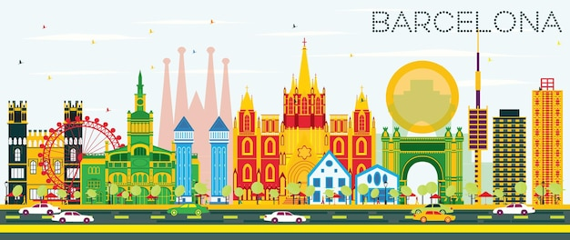 Orizzonte di barcellona con edifici di colore e cielo blu. illustrazione di vettore. viaggi d'affari e concetto di turismo con edifici storici. immagine per presentazione banner cartellone e sito web.