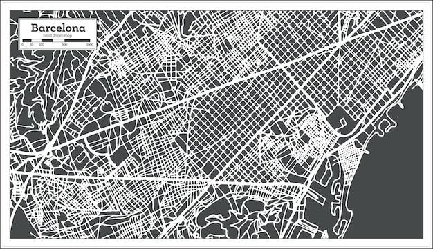Mappa della città di barcellona spagna in stile retrò. mappa di contorno. illustrazione di vettore.
