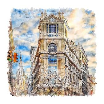 Illustrazione disegnata a mano di schizzo dell'acquerello di barcellona spagna