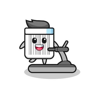 Personaggio dei cartoni animati con codice a barre che cammina sul tapis roulant, design carino