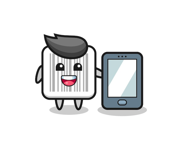 Fumetto dell'illustrazione del codice a barre che tiene uno smartphone, design carino