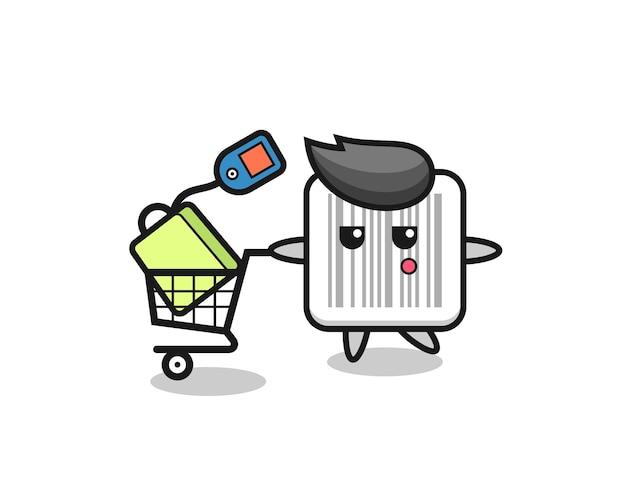 Fumetto dell'illustrazione del codice a barre con un carrello della spesa, design carino