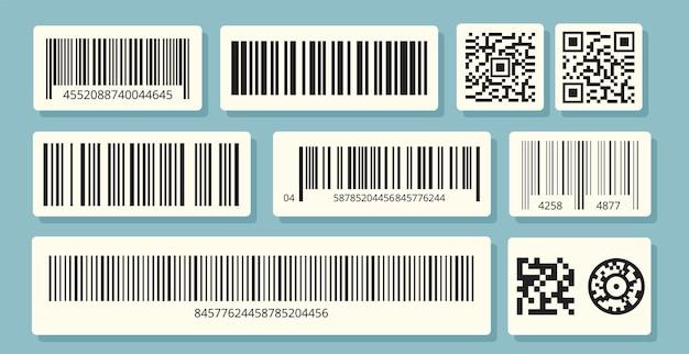 Etichette con codice a barre. identificazione qr, informazioni di vendita. set di adesivi di codici a barre.