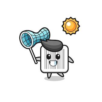 L'illustrazione della mascotte del codice a barre sta catturando una farfalla, un design carino