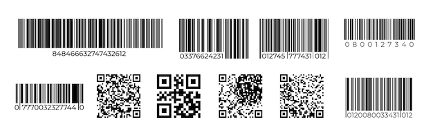 Codici a barre. marchio di identificazione del prodotto con codice qr, cartellino del prezzo per la scansione laser, codice del numero di vendita al dettaglio. scansione vettoriale set di simboli di codici a barre spogliati univoci