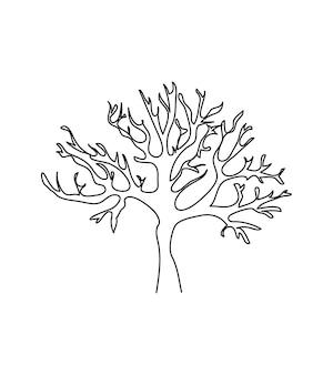 Albero nudo una linea arte linea continua di albero flora legno albero senza foglie rami corona