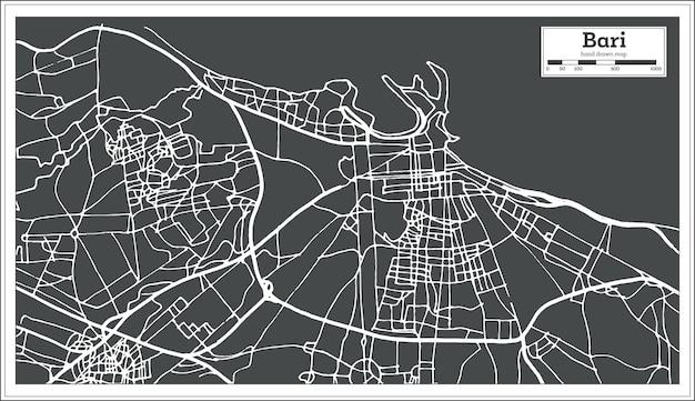 Mappa della città di bari italia in stile retrò. mappa di contorno. illustrazione di vettore.