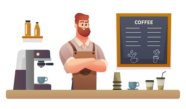 Personaggio barista all'illustrazione del bancone della caffetteria