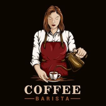Logo di ragazza barista caffè