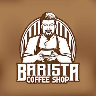Disegno del logo della mascotte del caffè del barista