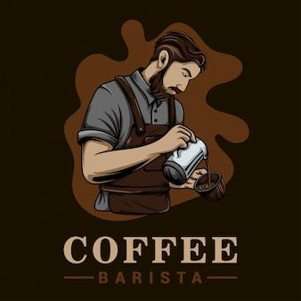 Modello di logo del miscelatore di caffè barista