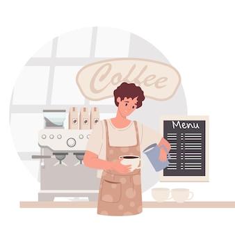 Barista nella caffetteria. uomo in grembiule che fa il caffè, offrendo tazza da asporto. concetto di caffè. illustrazione vettoriale