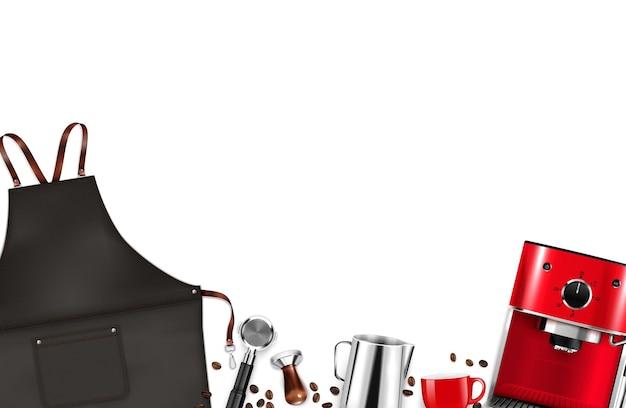 Attrezzature barista con grembiule macchina da caffè fagioli tamper pentola su sfondo bianco realistico