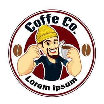 Barista mascotte logo cartoon