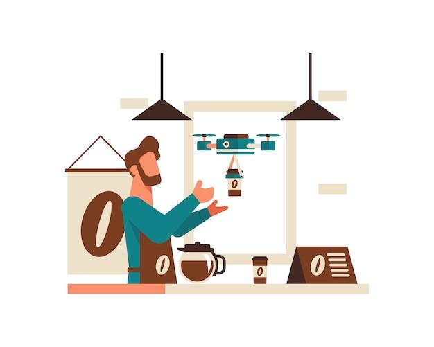 Un barista invia caffè usando un concetto di illustrazione del drone
