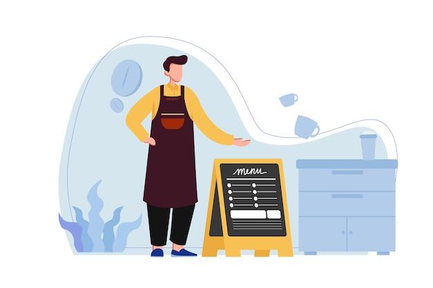 Il barista mostra il menu del caffè all'illustrazione dei clienti