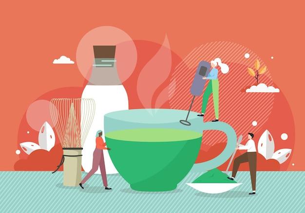 Barista piccoli personaggi maschili e femminili che preparano una tazza gigante di tè verde matcha