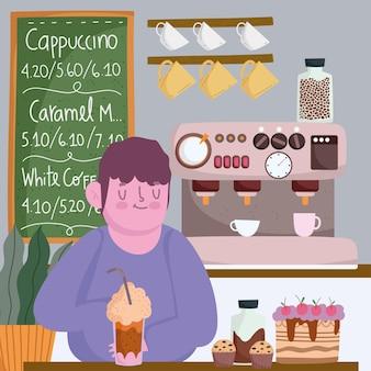 Barista con caffè freddo