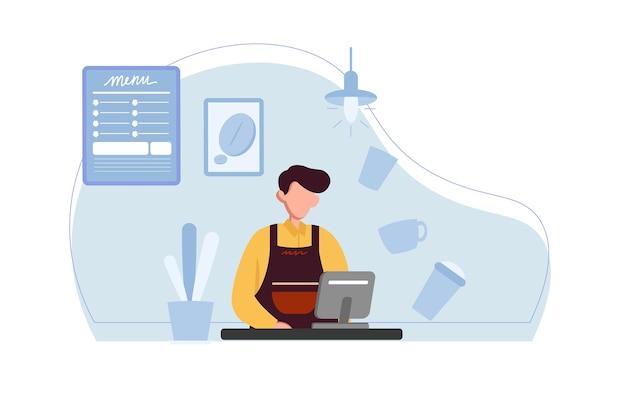 Barista che lavora come cassiere nell'illustrazione del caffè