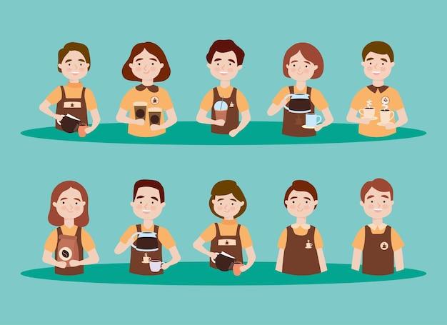 Icona della gente del barista impostata sullo sfondo