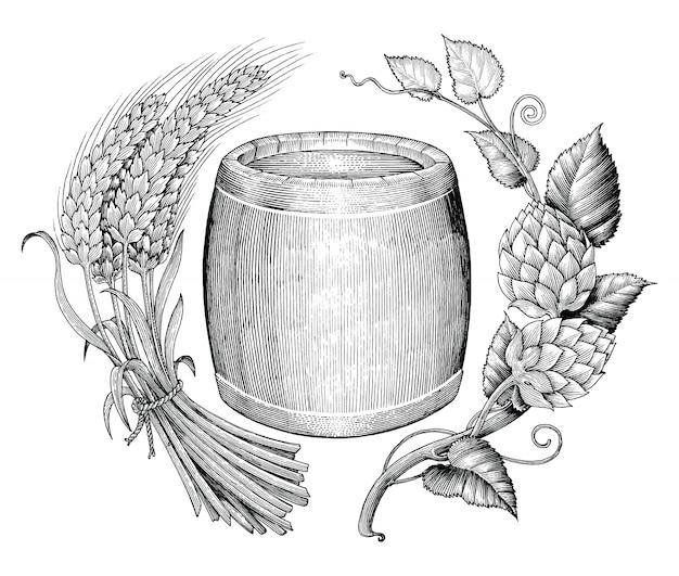 Birra d'orzo, grano e botte a mano disegno stile incisione vintage