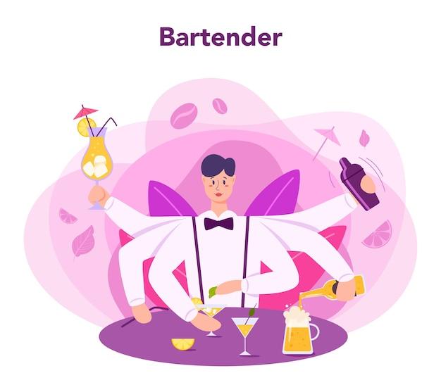 Barman prepara bevande alcoliche con shaker al bar. barista in piedi al bancone del bar, mescolando cocktail. illustrazione vettoriale piatto isolato