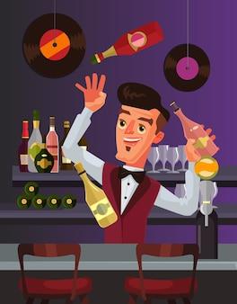 Il personaggio del barman si destreggia tra le bottiglie. illustrazione di cartone animato piatto