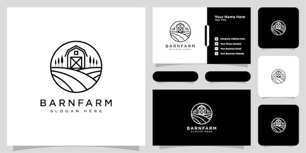 Fienile fattoria agricoltura logo vettoriale design linea stile e biglietto da visita desig