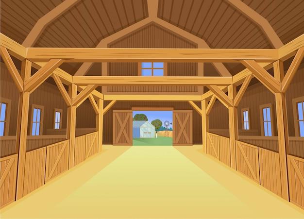 Un fienile per animali da fattoria, vista all'interno. illustrazione in stile cartone animato