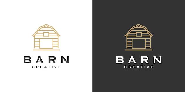Barn farm minimalista line art logo design