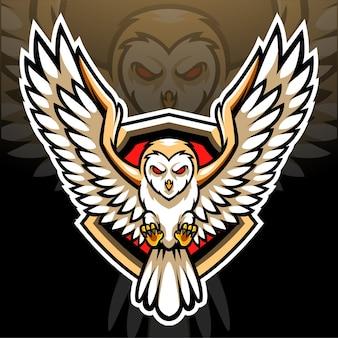 Mascotte del gufo di granaio. design del logo esport