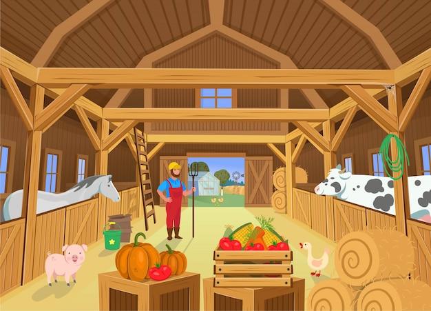 Un fienile con animali e contadino, vista all'interno. illustrazione vettoriale in stile cartone animato