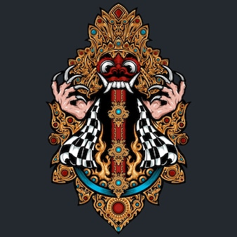 Illustrazione della maschera di barong bali