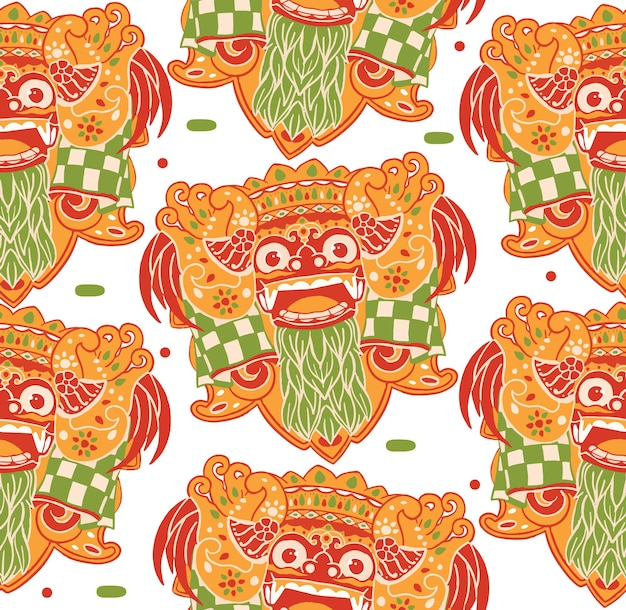 Barong bali seamless pattern in stile design piatto