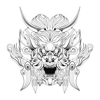 Illustrazione in bianco e nero dell'opera d'arte della cultura balinese di barong
