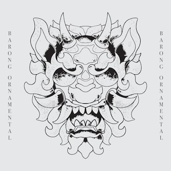 Barong head balinese culture line art illustration