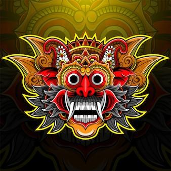 Logo della mascotte dell'esportazione della testa di barong