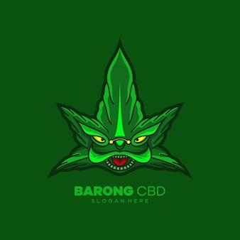 Logo della mascotte della testa di barong