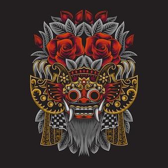 Illustrazione di barong della cultura balinese indonesiana