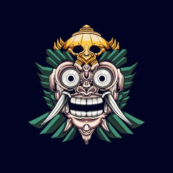 Barong mask mecha illustrazione
