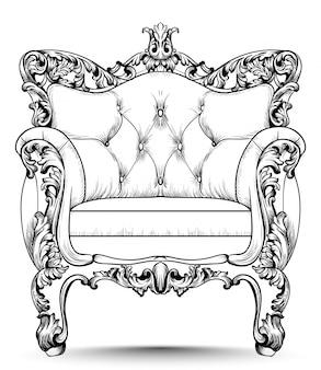 Poltrona di lusso barocca. mobili con decorazioni vittoriane. vettore realistico desig